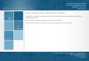 Website for legal firm, Dunson and Dunson